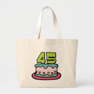 Torta de cumpleaños de 45 años bolsa tela grande