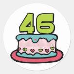 Torta de cumpleaños de 46 años pegatinas redondas