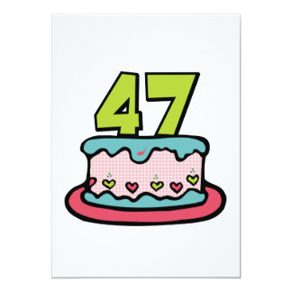 """Torta de cumpleaños de 47 años invitación 5"""" x 7"""""""