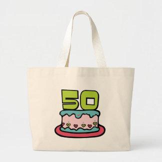 Torta de cumpleaños de 50 años bolsa tela grande