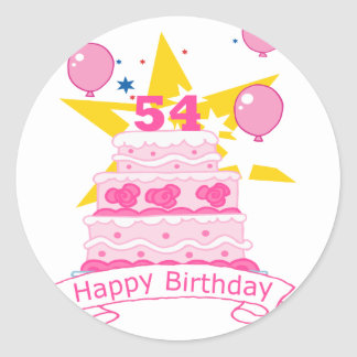 Torta de cumpleaños de 54 años pegatina redonda