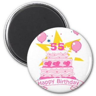 Torta de cumpleaños de 55 años imán redondo 5 cm