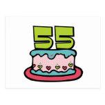 Torta de cumpleaños de 55 años postales
