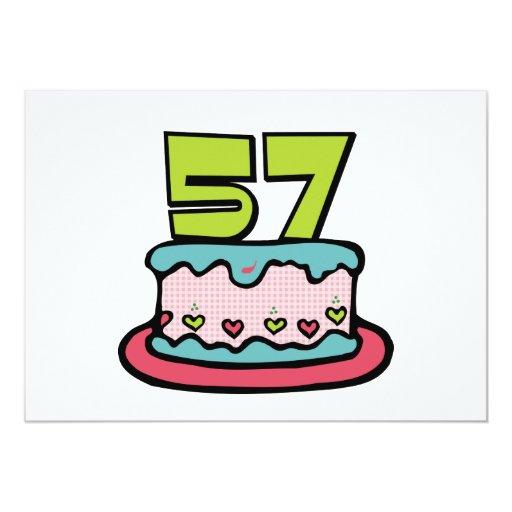 """Torta de cumpleaños de 57 años invitación 5"""" x 7"""""""