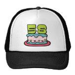 Torta de cumpleaños de 58 años gorros
