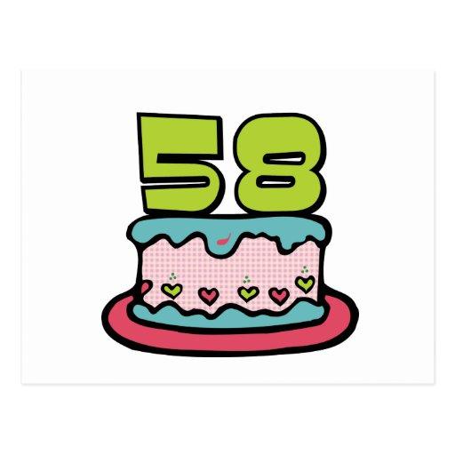 Torta de cumpleaños de 58 años postal