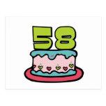 Torta de cumpleaños de 58 años postales