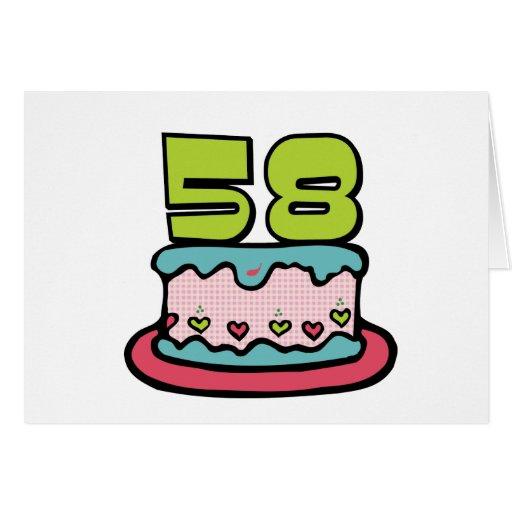 Torta de cumpleaños de 58 años tarjetón