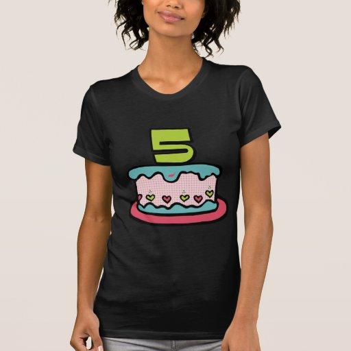Torta de cumpleaños de 5 años camisetas