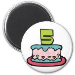 Torta de cumpleaños de 5 años imanes de nevera