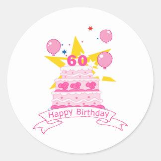 Torta de cumpleaños de 60 años pegatina redonda