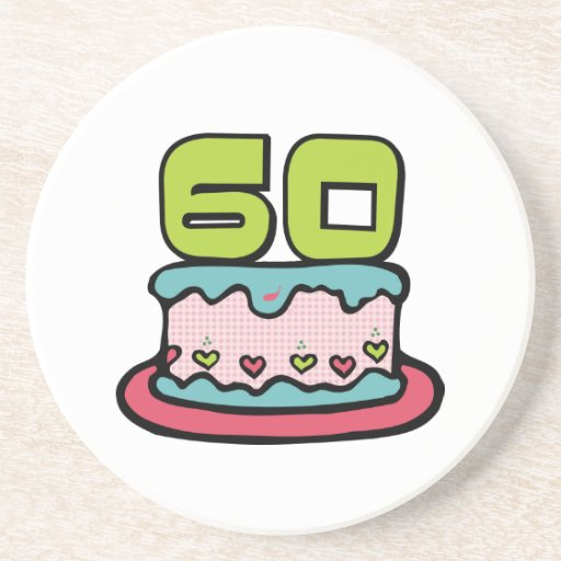 Torta de cumpleaños de 60 años posavasos para bebidas