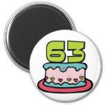 Torta de cumpleaños de 63 años iman de frigorífico