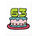 Torta de cumpleaños de 63 años postales