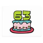 Torta de cumpleaños de 63 años tarjeta postal