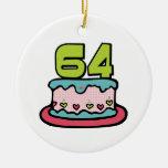 Torta de cumpleaños de 64 años ornamentos de navidad