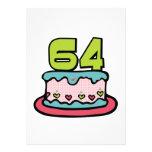 Torta de cumpleaños de 64 años comunicado personalizado