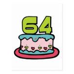 Torta de cumpleaños de 64 años tarjetas postales