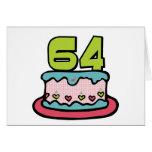 Torta de cumpleaños de 64 años tarjetón