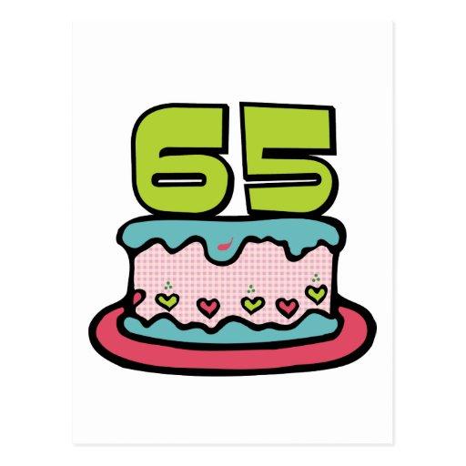 Torta de cumpleaños de 65 años postal