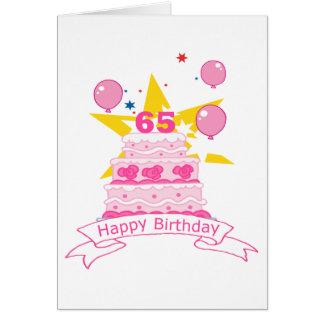 Torta de cumpleaños de 65 años tarjeta