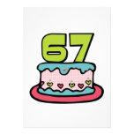 Torta de cumpleaños de 67 años invitacion personalizada