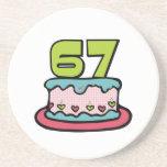 Torta de cumpleaños de 67 años posavasos cerveza
