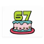 Torta de cumpleaños de 67 años postal