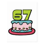 Torta de cumpleaños de 67 años tarjeta postal