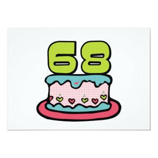 """Torta de cumpleaños de 68 años invitación 5"""" x 7"""""""