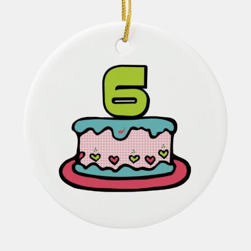 Torta de cumpleaños de 6 años adorno redondo de cerámica