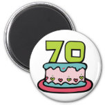 Torta de cumpleaños de 70 años imanes para frigoríficos