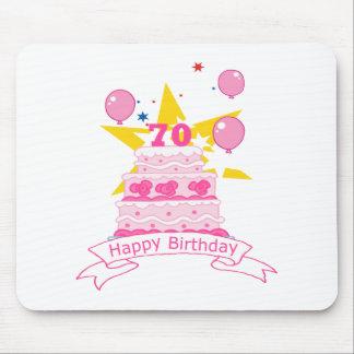 Torta de cumpleaños de 70 años alfombrillas de raton