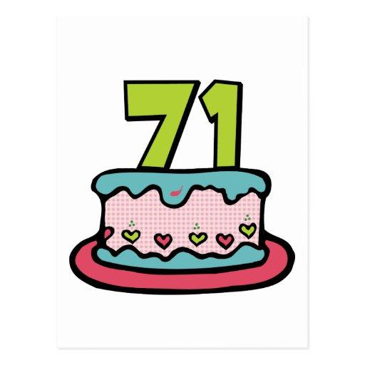 Torta de cumpleaños de 71 años tarjeta postal