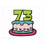 Torta de cumpleaños de 73 años tarjetas postales