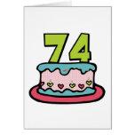 Torta de cumpleaños de 74 años tarjetas