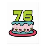Torta de cumpleaños de 76 años tarjetas postales