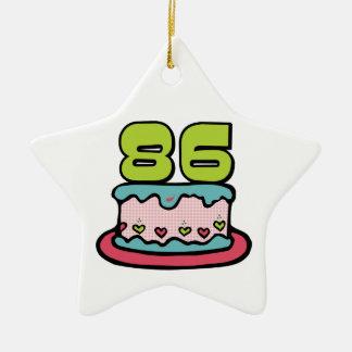 Torta de cumpleaños de 86 años adorno navideño de cerámica en forma de estrella