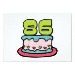 Torta de cumpleaños de 86 años invitación 12,7 x 17,8 cm