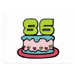 Torta de cumpleaños de 86 años postales