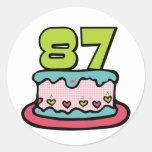 Torta de cumpleaños de 87 años pegatina redonda