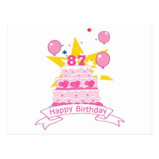 Torta de cumpleaños de 87 años tarjetas postales