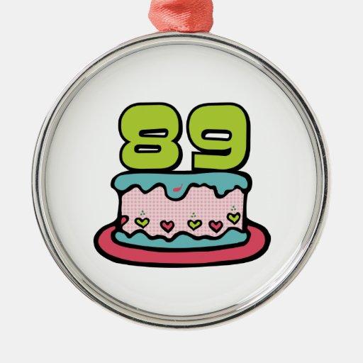 Torta de cumpleaños de 89 años ornamentos de navidad