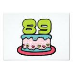 Torta de cumpleaños de 89 años invitación 12,7 x 17,8 cm