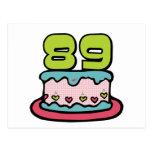 Torta de cumpleaños de 89 años tarjetas postales
