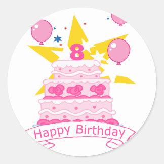 Torta de cumpleaños de 8 años pegatinas redondas
