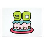 Torta de cumpleaños de 90 años invitación 12,7 x 17,8 cm