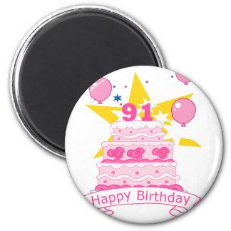 Torta de cumpleaños de 91 años imanes