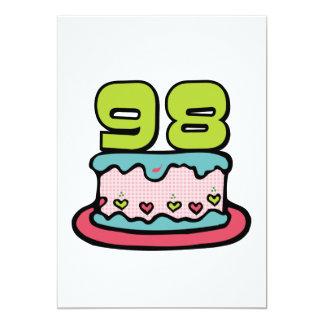 Torta de cumpleaños de 98 años invitación 12,7 x 17,8 cm