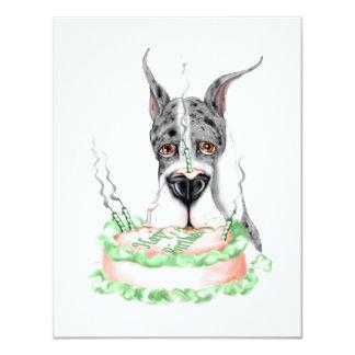 """Torta de cumpleaños de great dane Merle Invitación 4.25"""" X 5.5"""""""